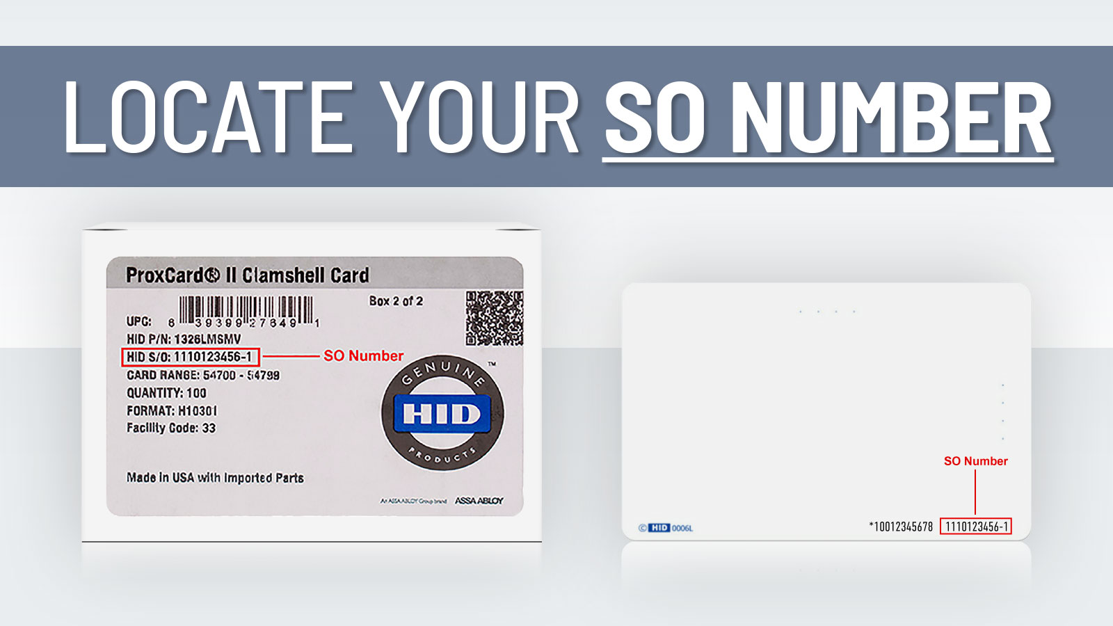 HID Access Cards - Locate Your SO Number